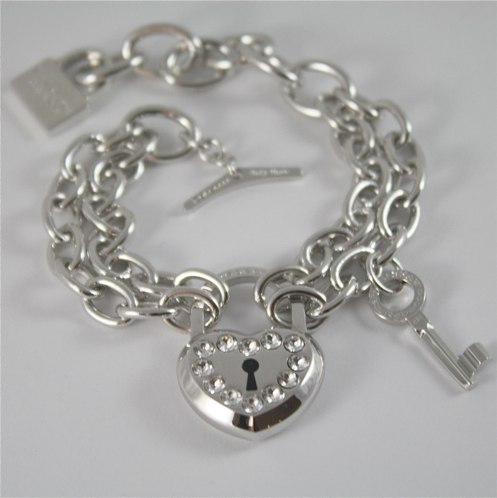 WHITE GOLD PLATED BRONZE REBECCA BRACELET LOVE LOCK BLLBBB26 MADE IN ITALY  7.87