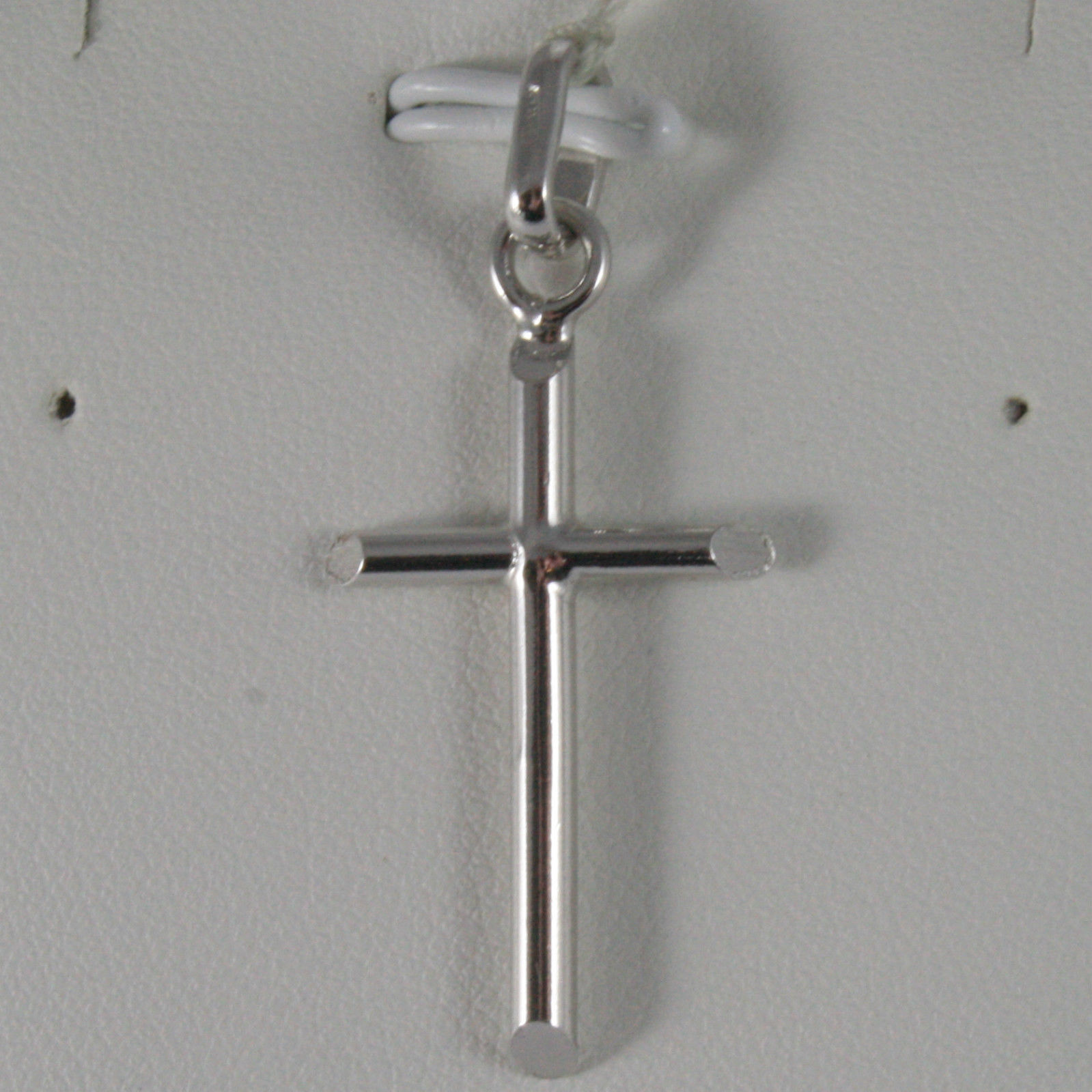 SOLID 18K WHITE GOLD CROSS, TUBE, SHINY 1.46 INCHES, MADE IN ITALY