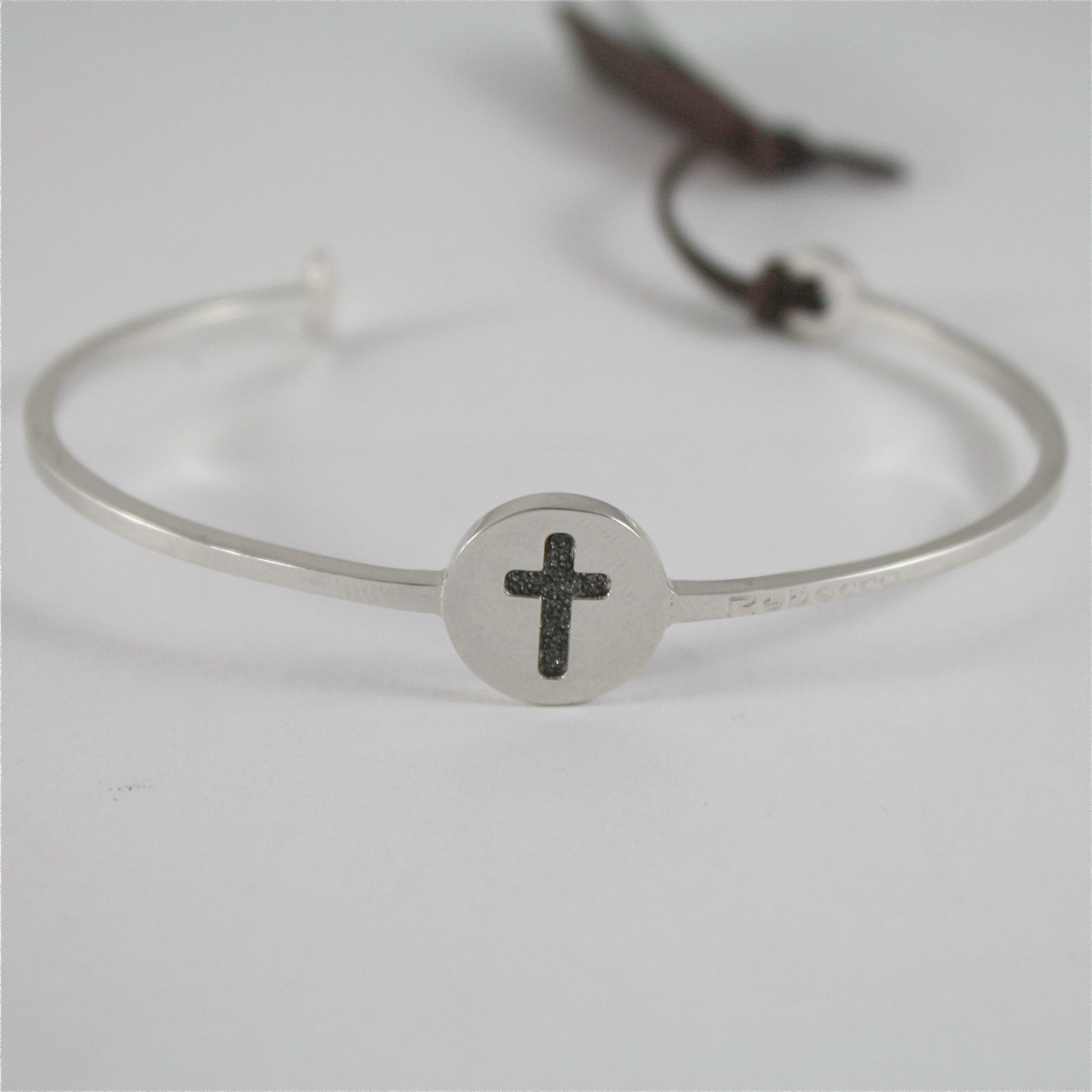 WHITE GOLD PLATED BANGLE BRONZE REBECCA BRACELET CROSS MWGBBN80 MADE IN ITALY
