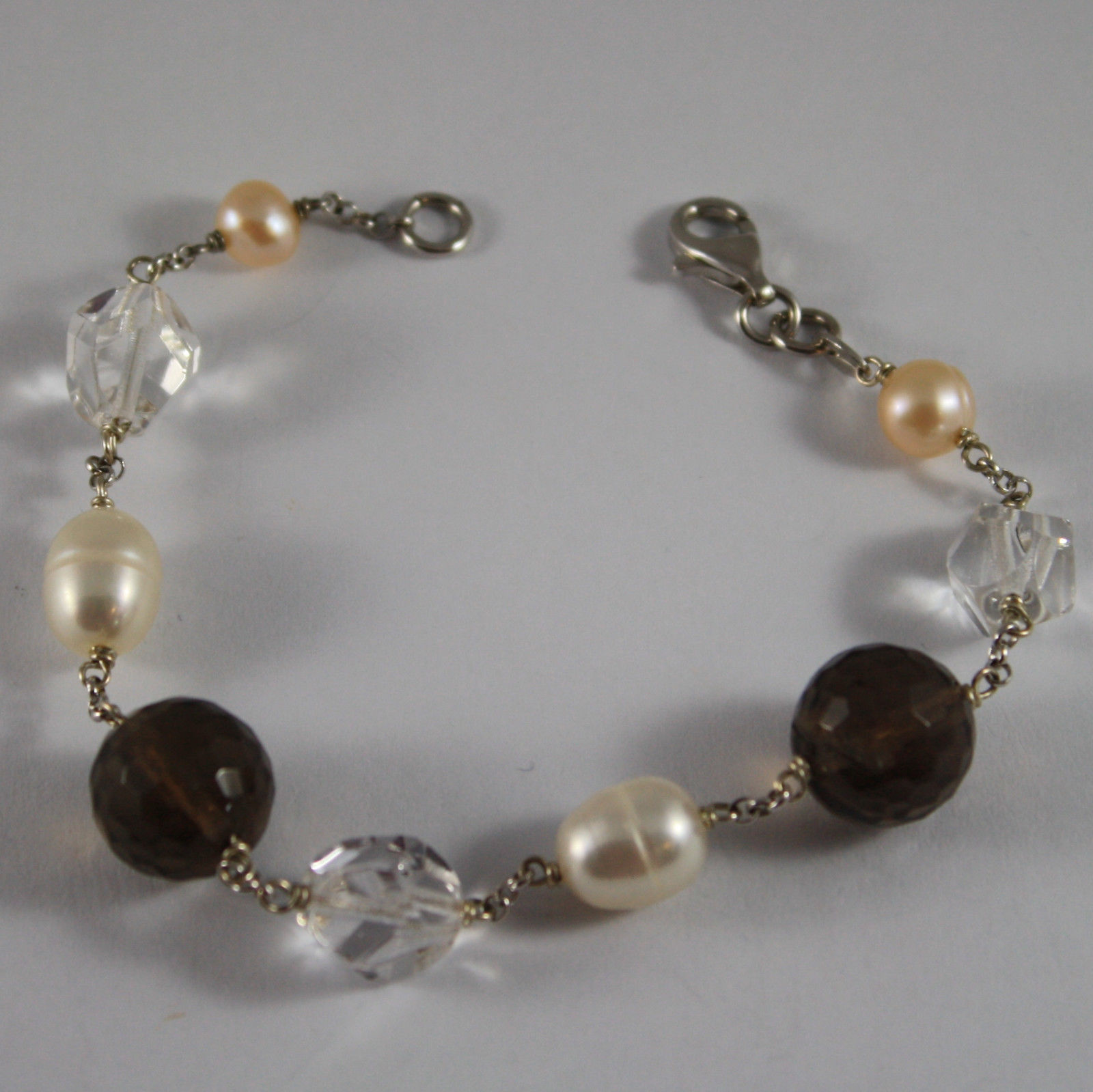.925 RHODIUM SILVER BRACELET WITH SMOKY QUARTZ, CRYSTALS AND PEARLS