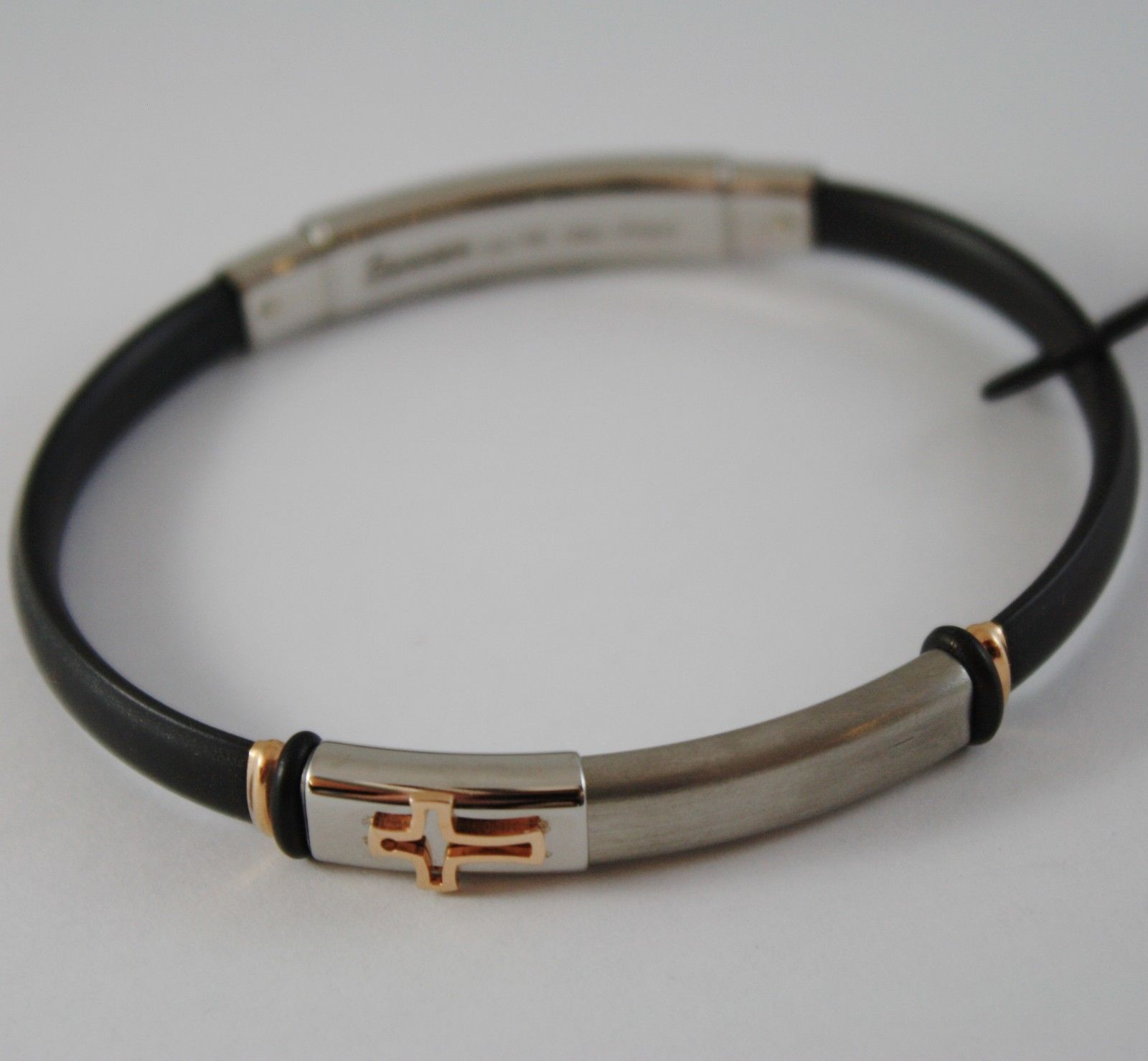 18K ROSE GOLD, STEEL, BLACK SILICON AND CROSS BRACELET BY ZANCAN MADE IN ITALY
