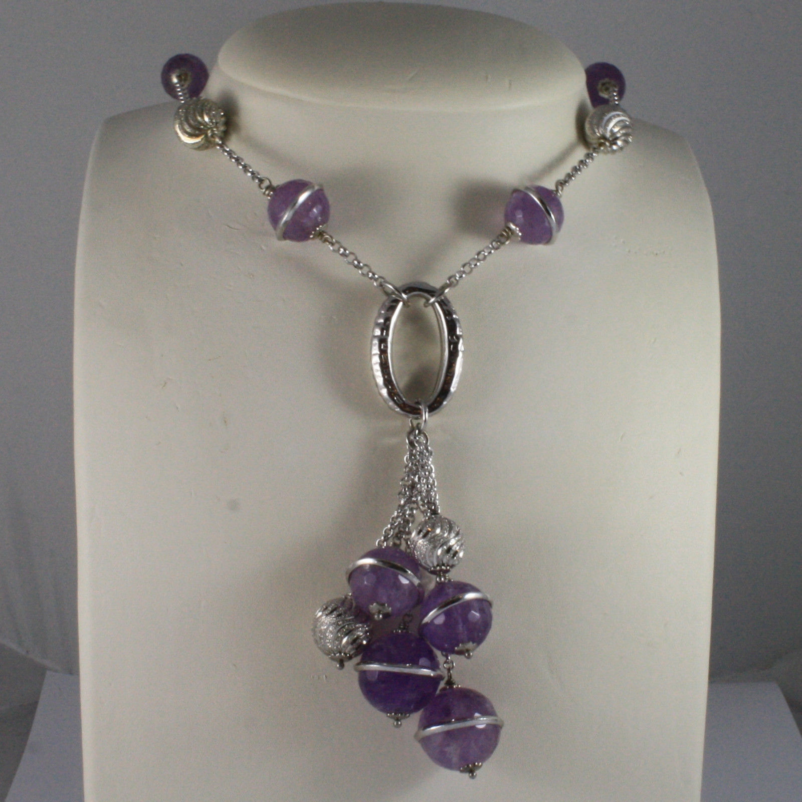 .925 SILVER RHODIUM NECKLACE WITH PURPLE AMETHYST AND SILVER OVAL AND SPHERES