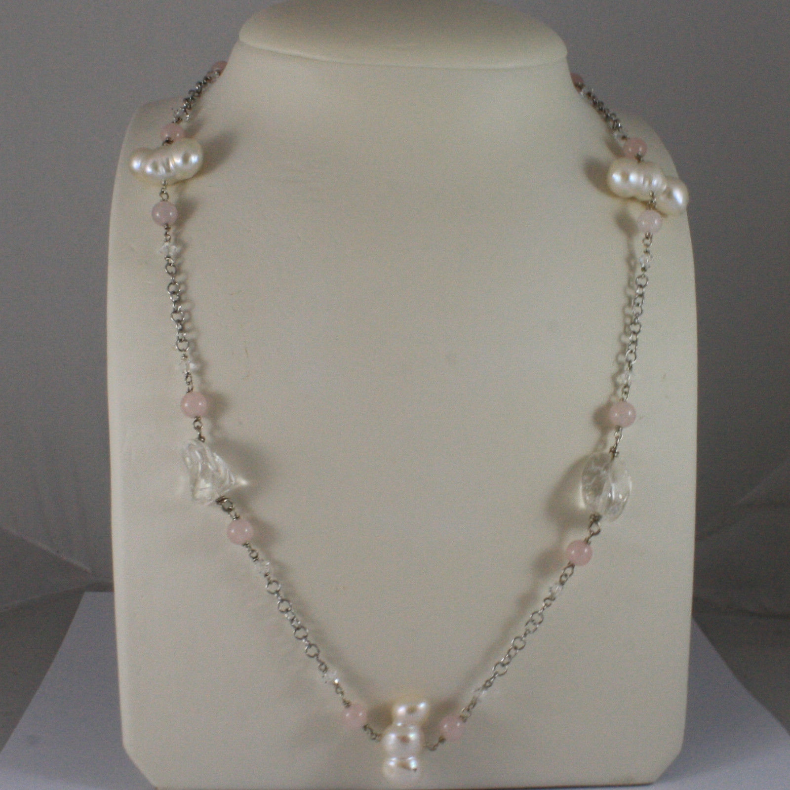 .925 SILVER RHODIUM NECKLACE WITH PINK QUARTZ, BAROQUE WHITE PEARLS AND CRYSTALS