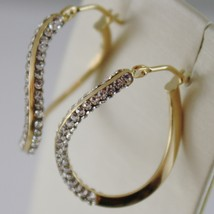 SOLID 18K YELLOW GOLD CIRCLE HOOPS ONDULATE EARRINGS WITH ZIRCONIA MADE IN ITALY