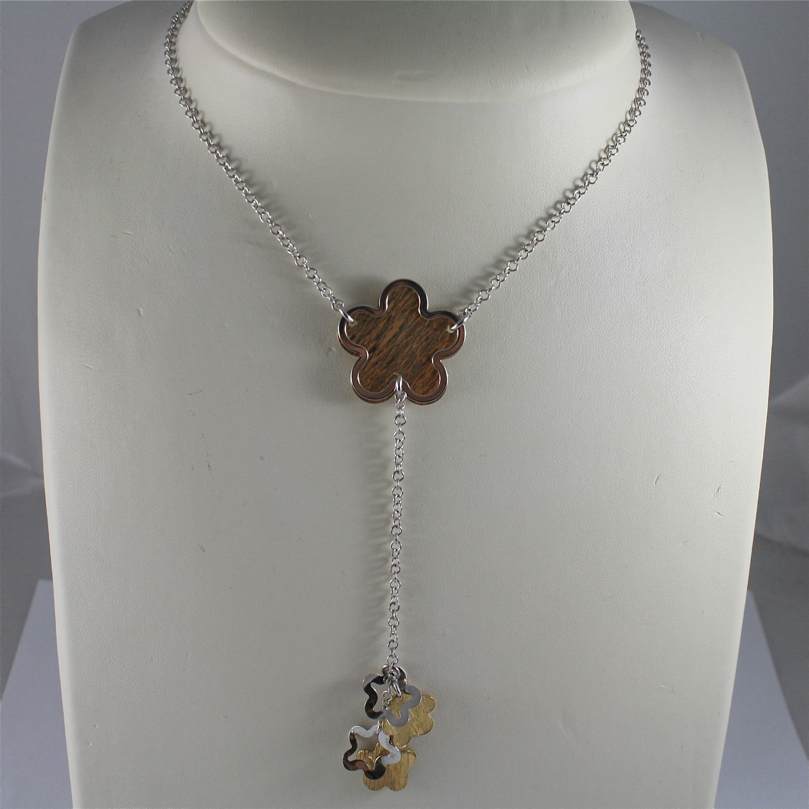 .925 SILVER RHODIUM AND GOLD PLATED SCARF NECKLACE, 17,32 In, FLOWERS PENDANT.
