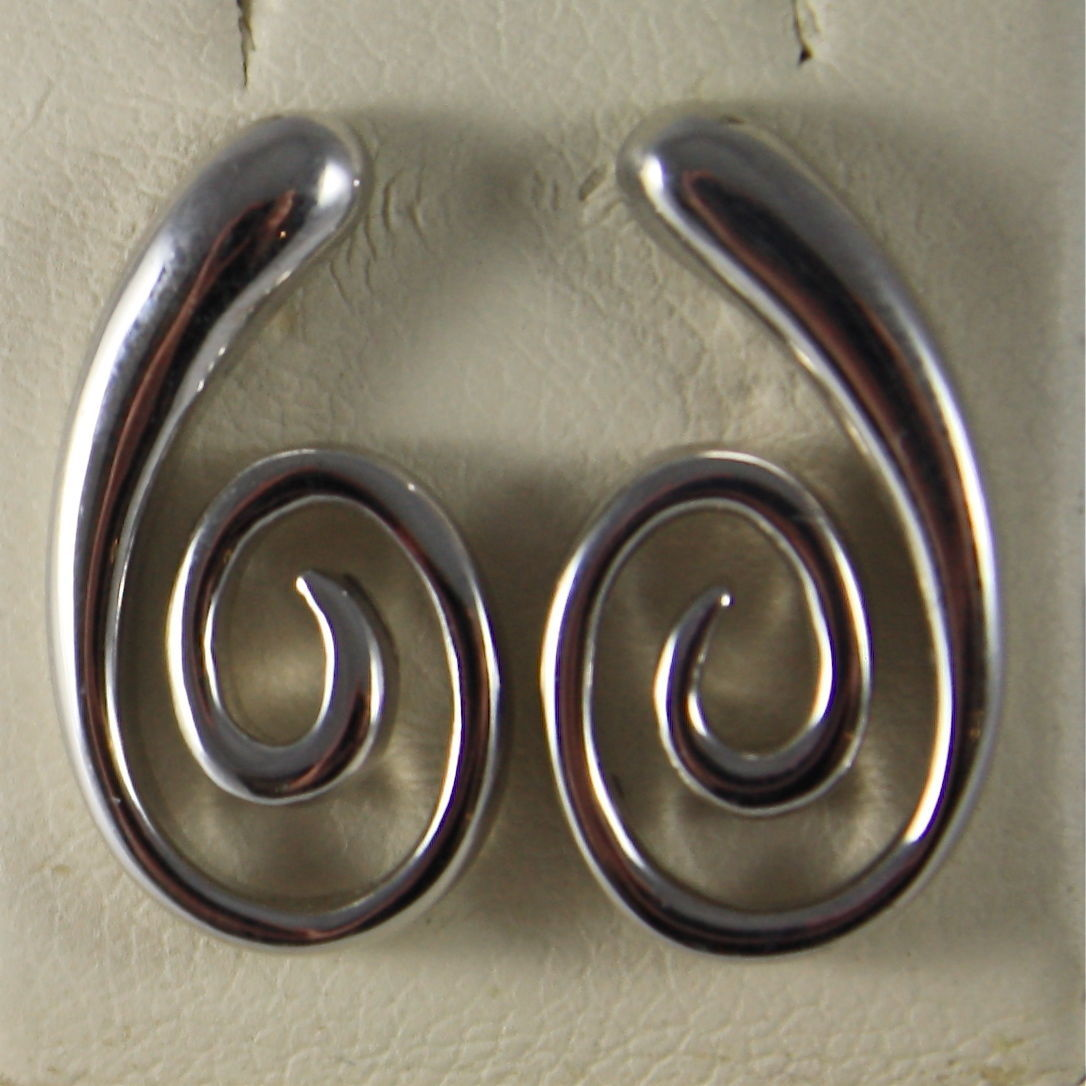SOLID 18K WHITE GOLD PENDANT EARRINGS, SPIRAL, MADE IN ITALY