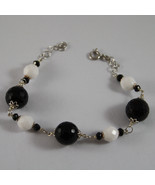 .925 RHODIUM SILVER BRACELET WITH BLACK ONYX AND WHITE AGATE - $110.20