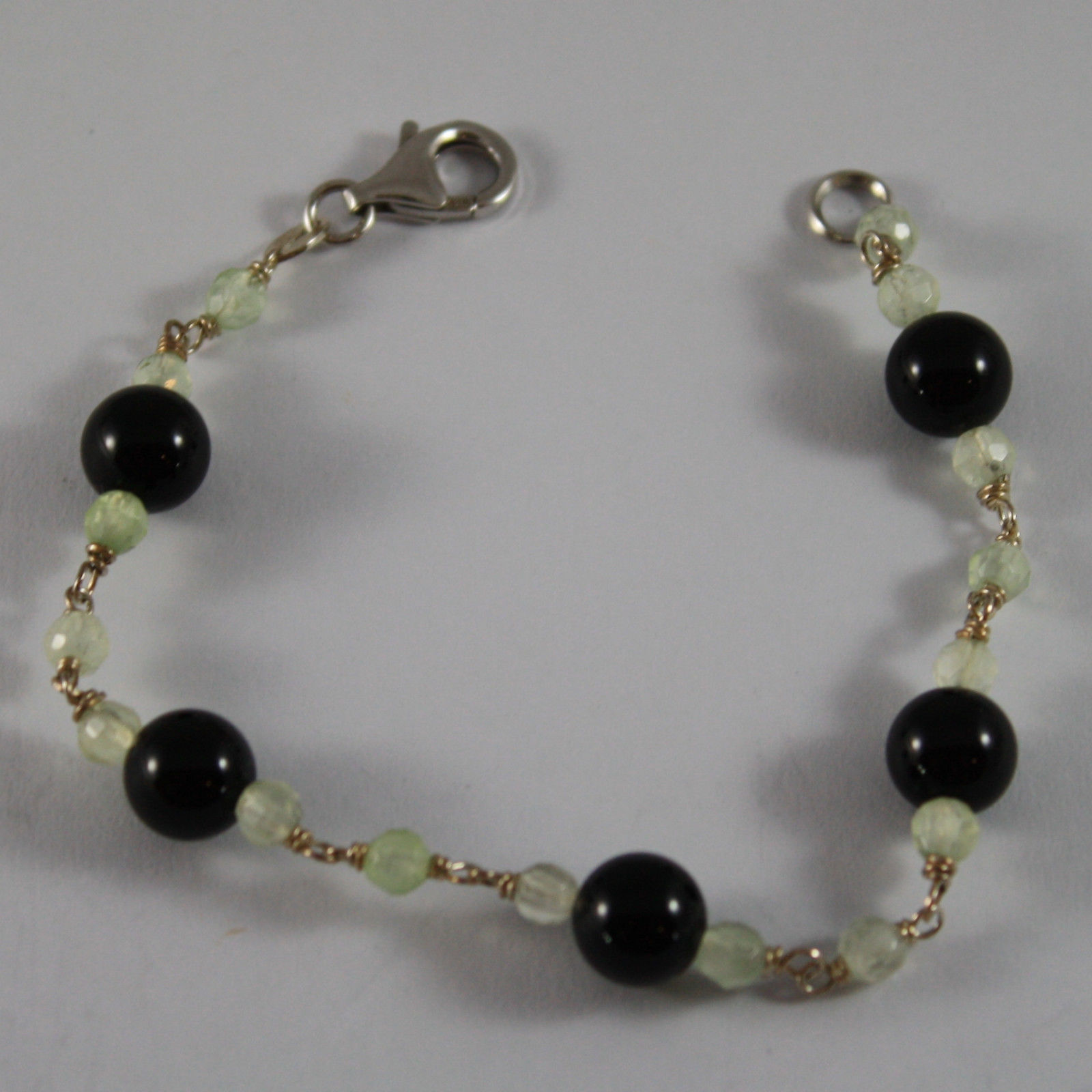 .925 RHODIUM SILVER BRACELET WITH BLACK ONYX AND GREEN JADE