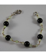 .925 RHODIUM SILVER BRACELET WITH BLACK ONYX AND GREEN JADE - $74.10