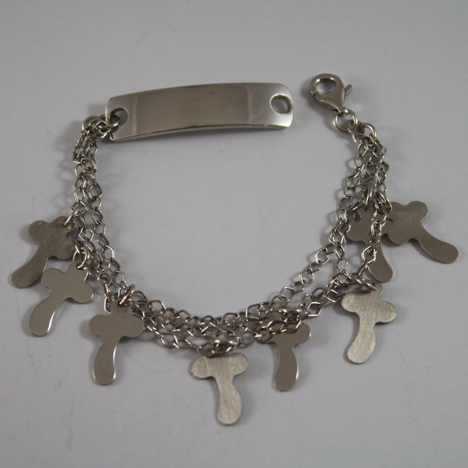 .925 RHODIUM SILVER MULTI STRAND BRACELET WITH PLATE AND CROSSES