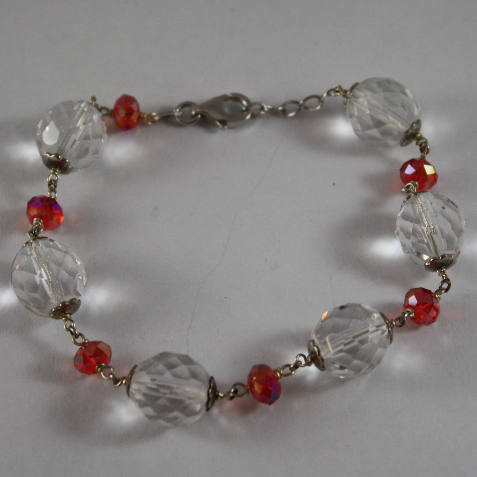 925. RHODIUM SILVER BRACELET WITH RED AND TRANSPARENT CRYSTALS