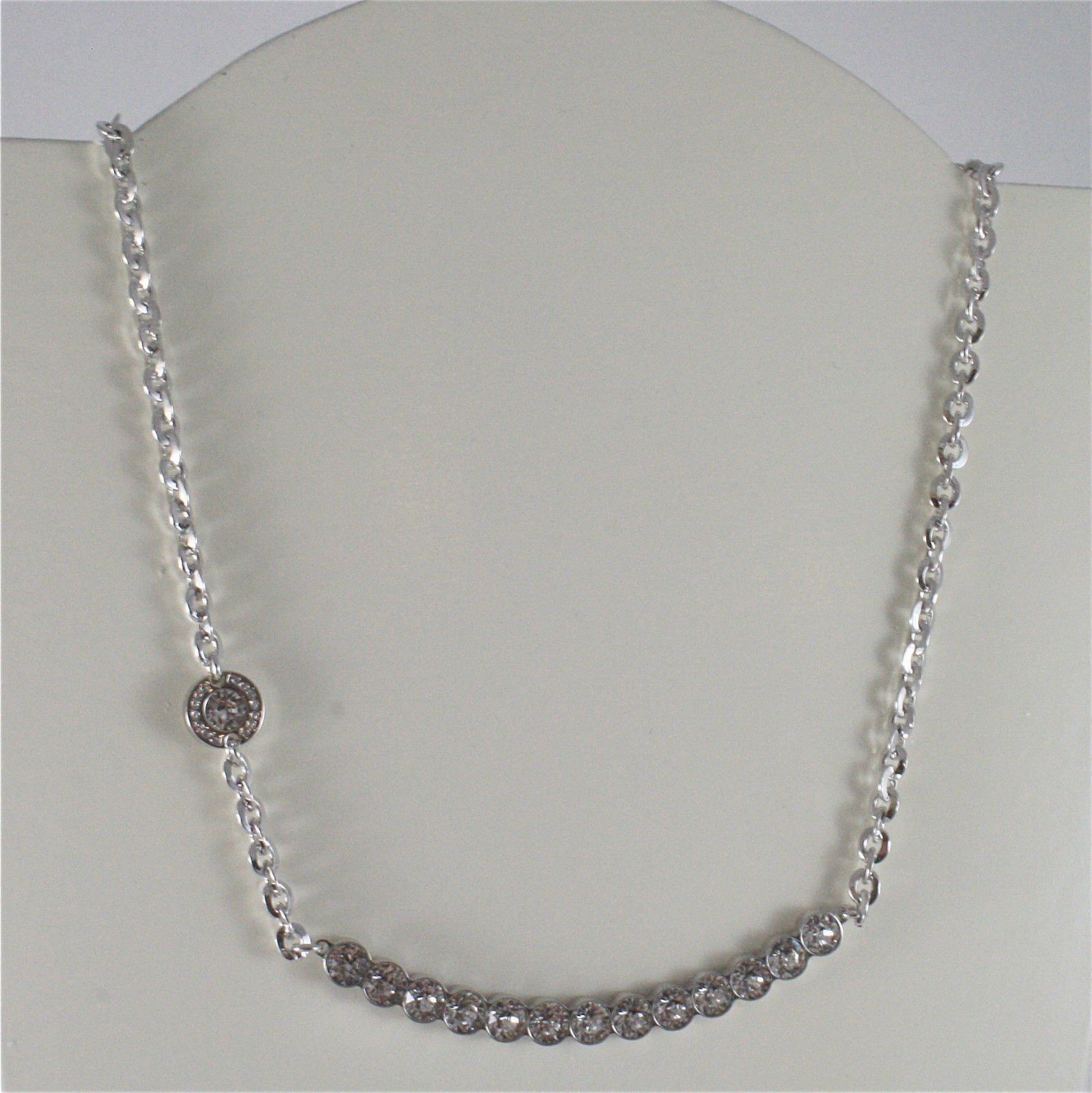 WHITE GOLD PLATED BRONZE REBECCA TENNIS NECKLACE BPBKBB14 MADE IN ITALY 18.90 IN
