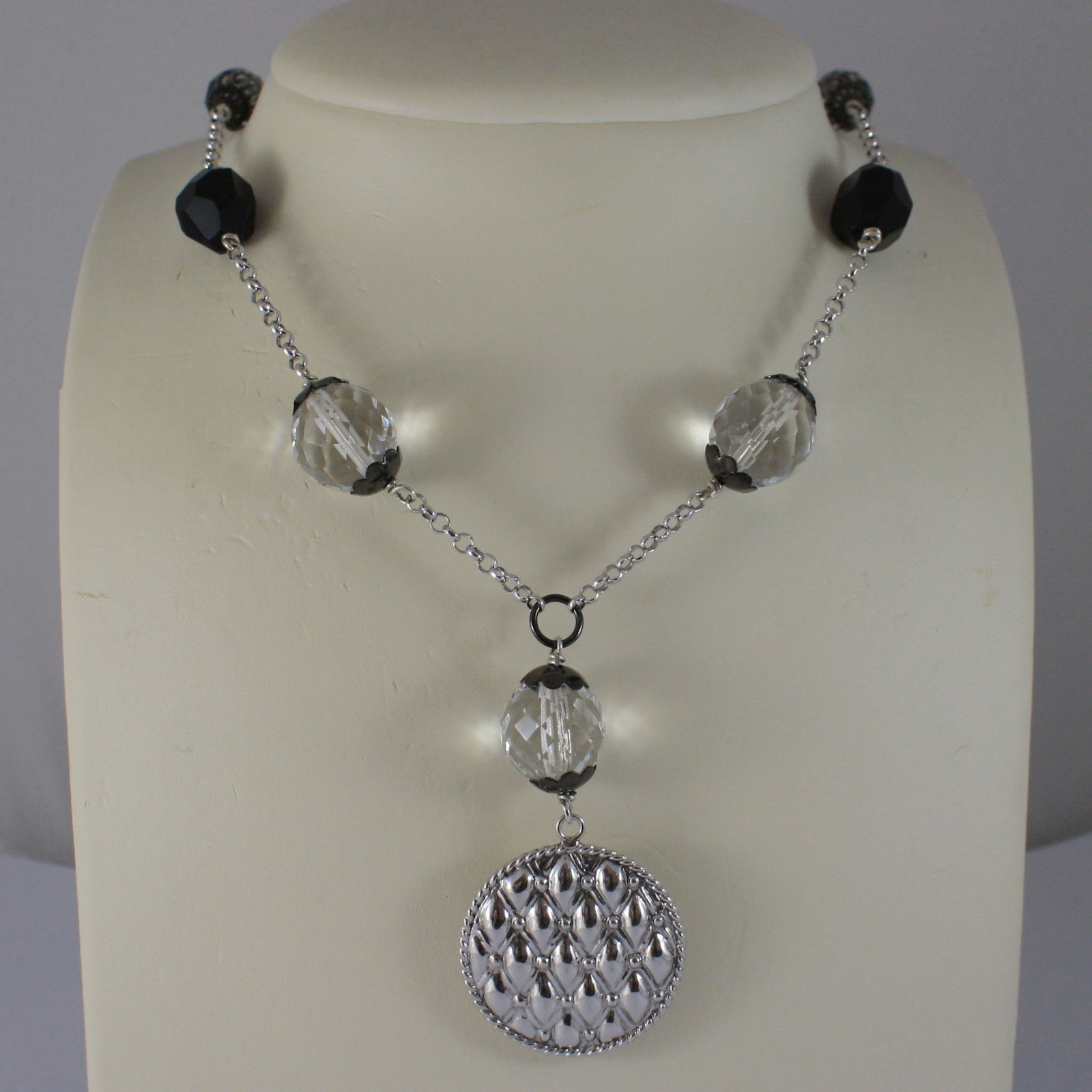 .925 SILVER RHODIUM NECKLACE WITH BLACK ONYX, TRANSPARENT CRYSTALS AND PENDANT