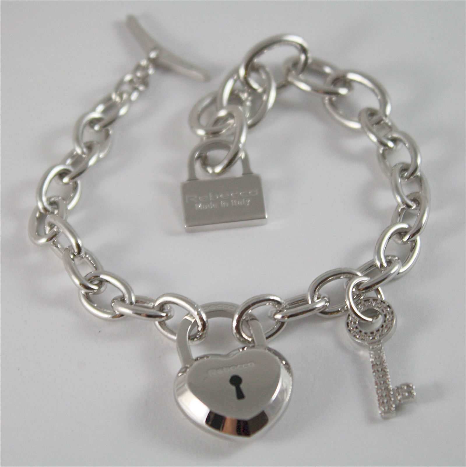 WHITE GOLD PLATED BRONZE REBECCA BRACELET LOVE LOCK BLLBBB05 MADE IN ITALY 7.87