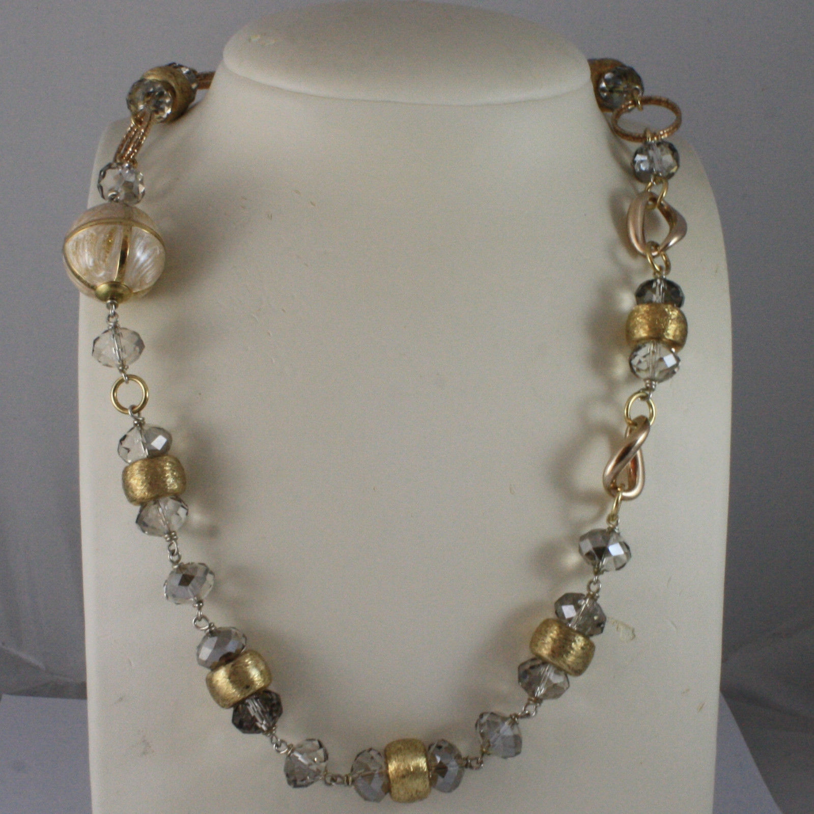 .925 SILVER RHODIUM YELLOW GOLD PLATED NECKLACE WITH GLAZED SPHERE AND CRYSTALS