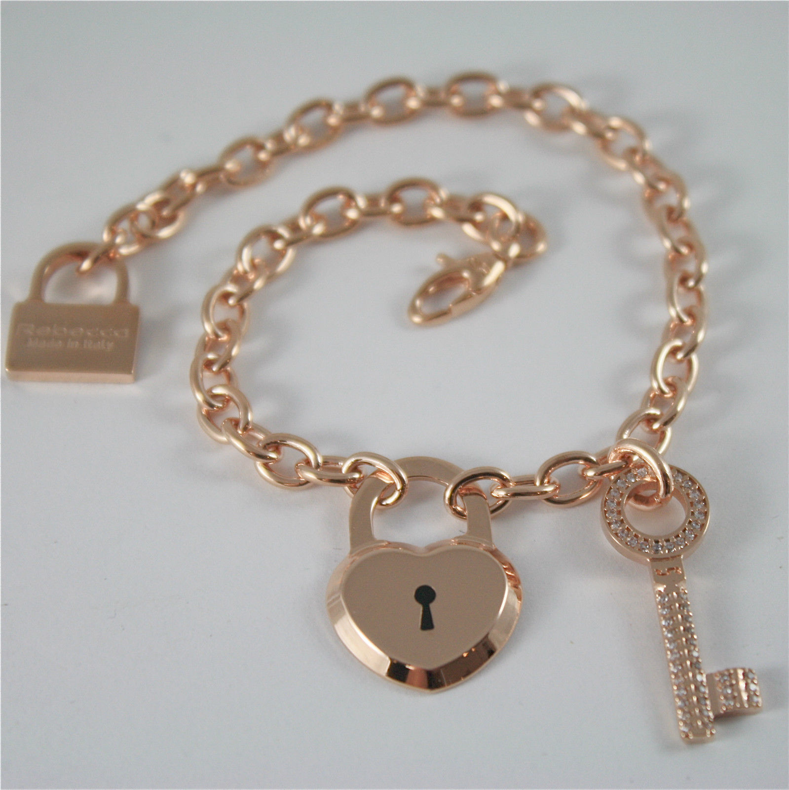 ROSE GOLD PLATED BRONZE REBECCA BRACELET LOVE LOCK BLLBRB72 MADE IN ITALY 8.27