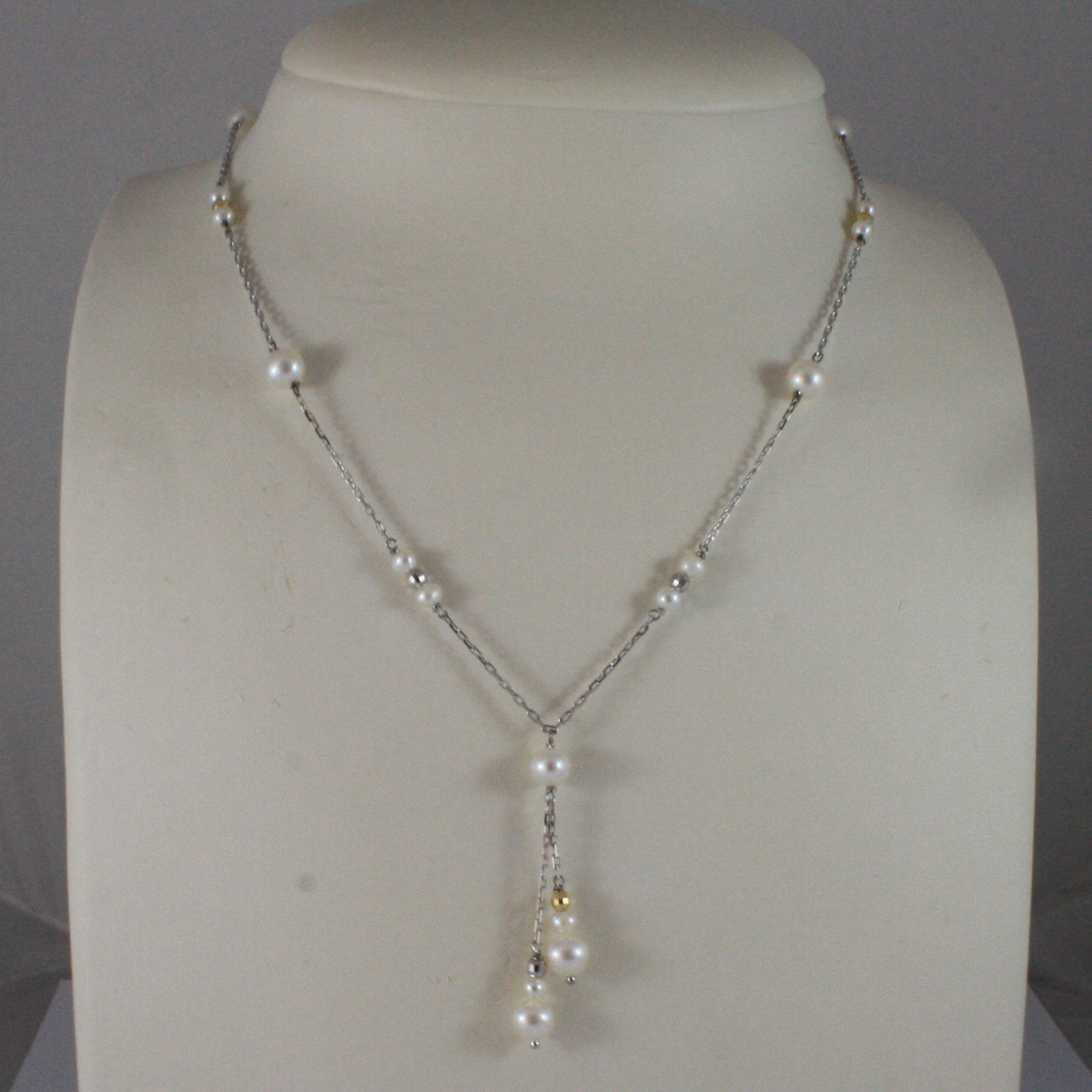 SOLID 18K WHITE GOLD NECKLACE WITH FRESHWATER WHITE PEARL AND GOLDEN BALLS