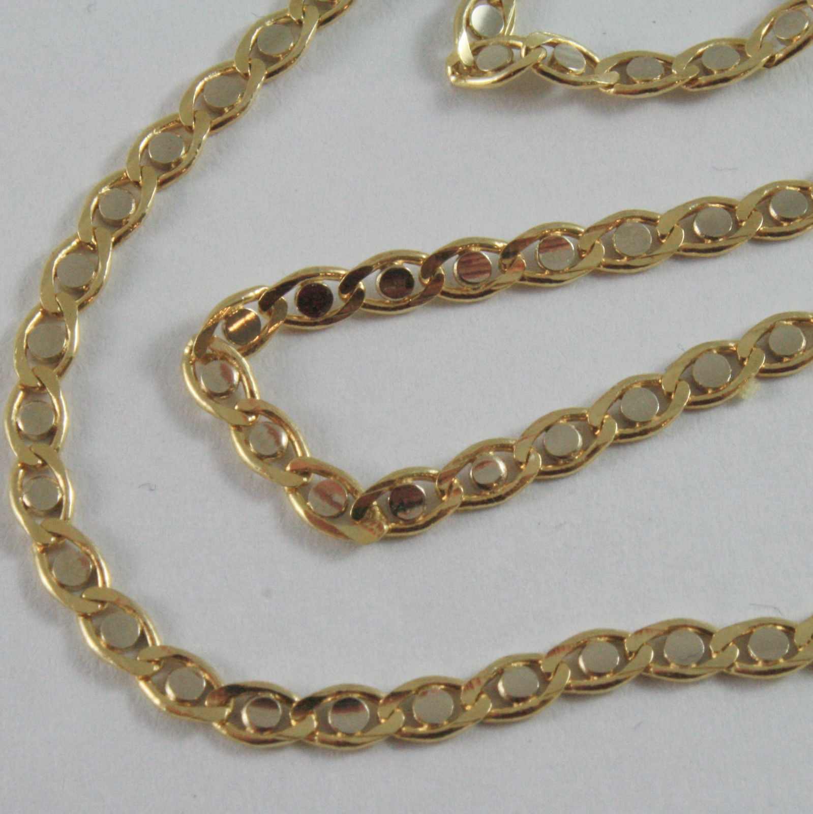 18K YELLOW AND WHITE GOLD CHAIN, EYE FLAT OVAL LINK 3mm NECKLACE MADE IN ITALY