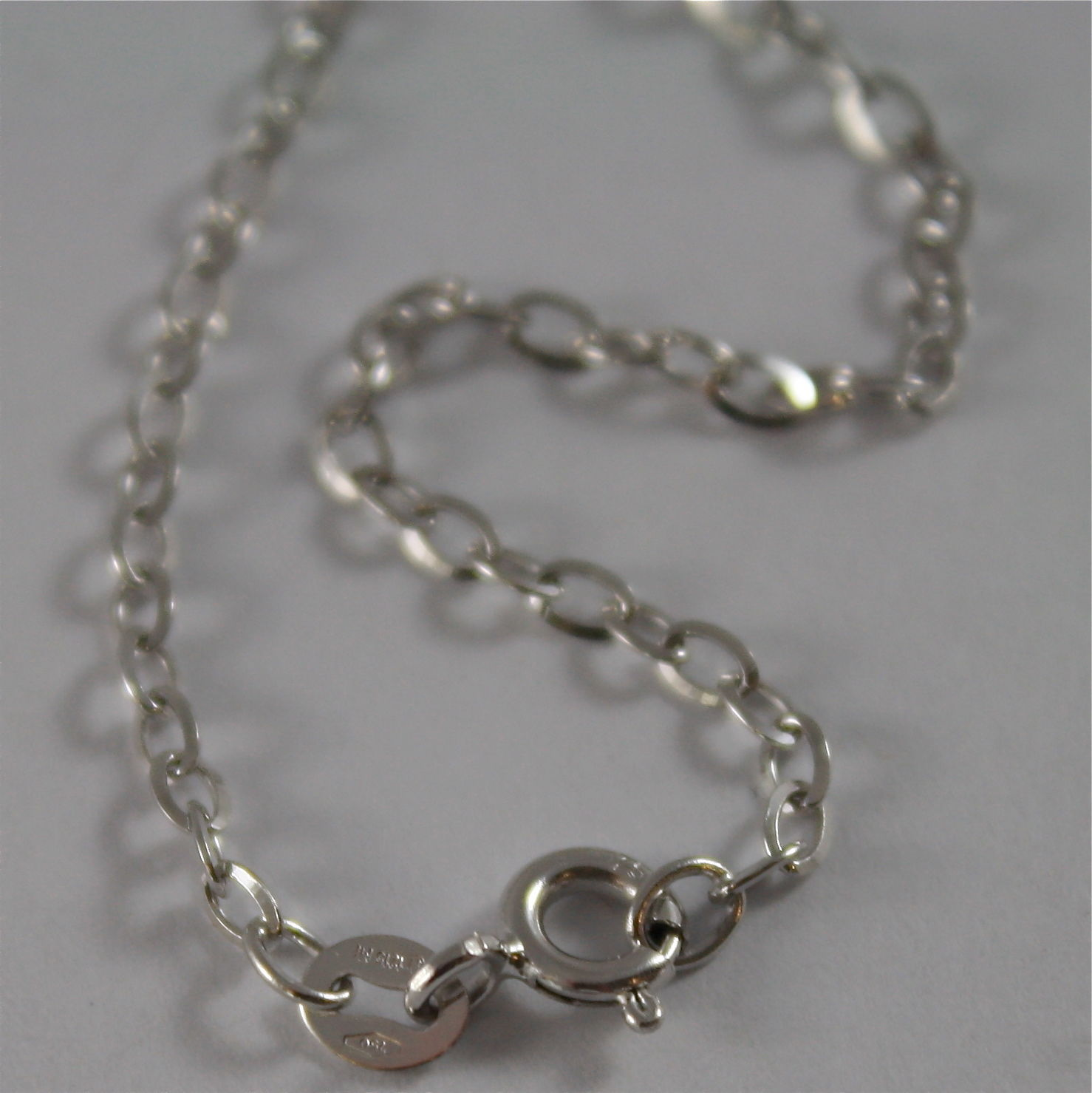18K WHITE GOLD CHAIN MINI 2 MM ROLO OVAL MIRROR LINK 17.70 INCHES MADE IN ITALY