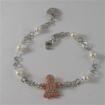 .925 SILVER BRACELET WITH ROSE GOLD PLATED BABY GIRL AND FW WHITE PEARLS 7,28 IN