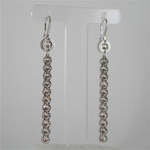 WHITE GOLD PLATED BRONZE REBECCA EARRINGS PALM BEACH BPBOBB27 MADE IN ITALY 3.03