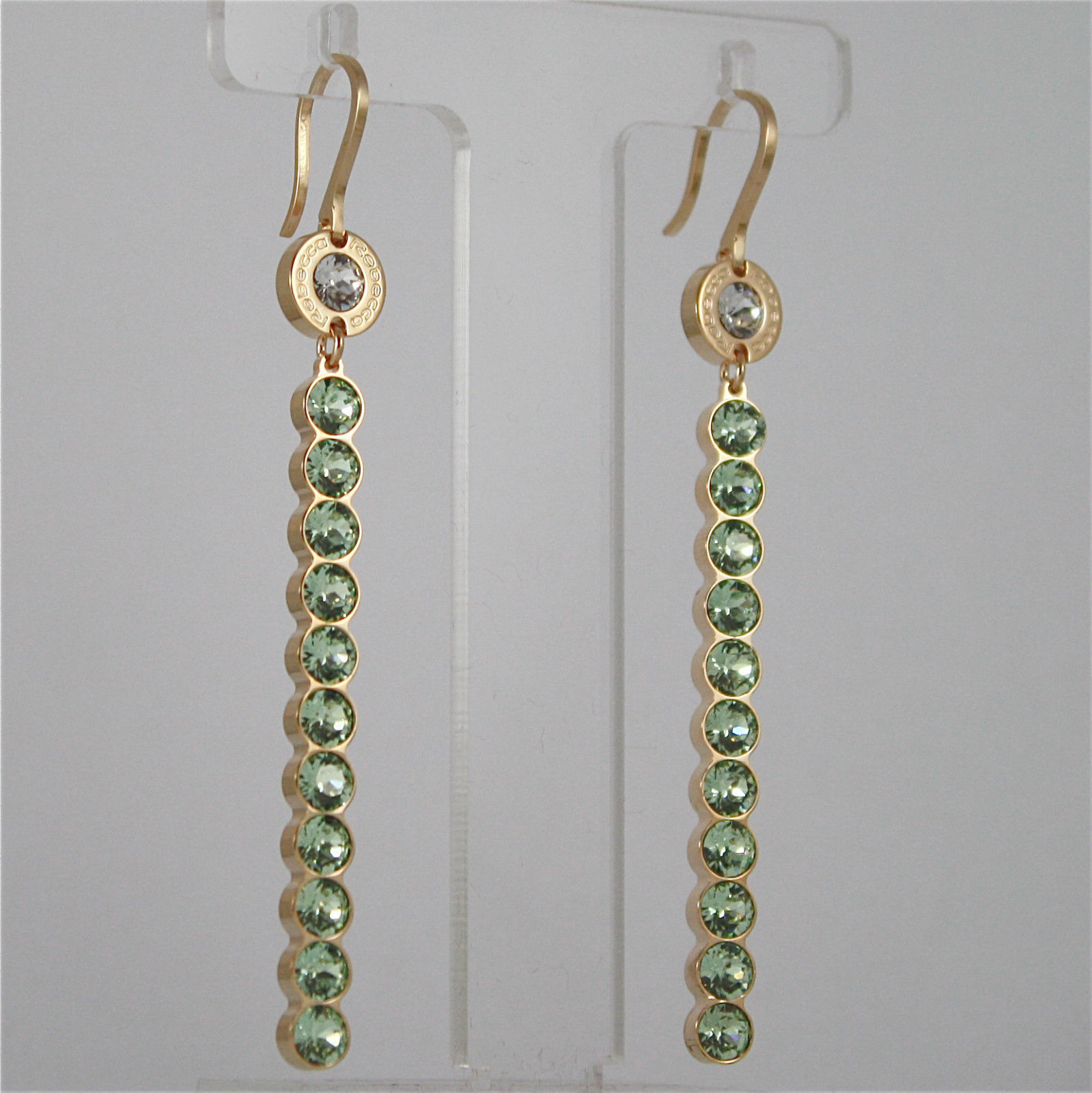 YELLOW GOLD PLATED BRONZE REBECCA EARRINGS PALM BEACH BPBOOE27 MADE IN ITALY