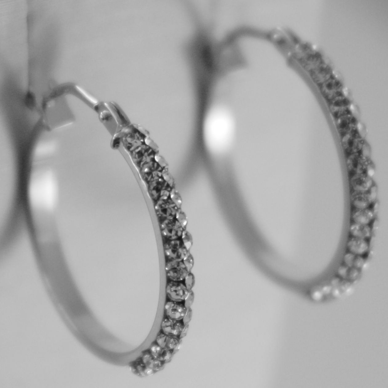 SOLID 18K WHITE GOLD CIRCLE HOOPS EARRINGS WITH ZIRCONIA BRIGHT MADE IN ITALY