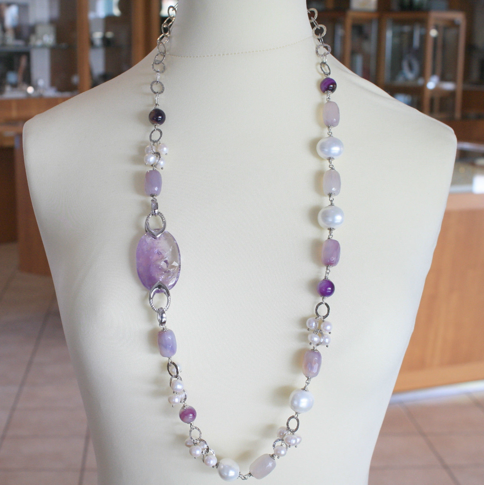 SOLID .925 RHODIUM SILVER LONG NECKLACE WITH PEARL, AGATE AND AMETHYST 36.6 IN