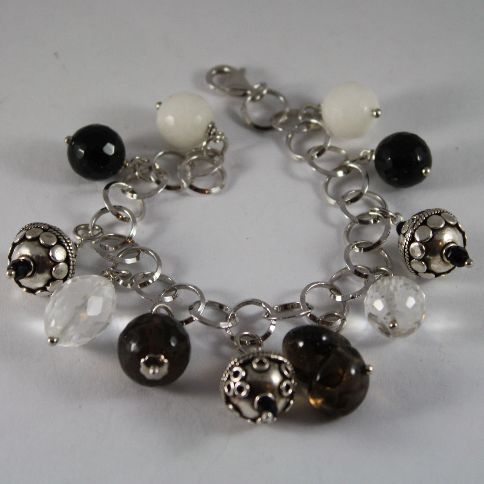 .925 RHODIUM SILVER BRACELET WITH BLACK ONYX, WHITE AGATE, SMOKY QUARTZ