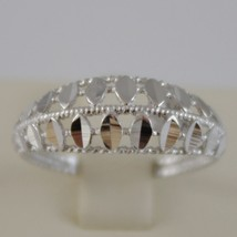 SOLID 18K WHITE GOLD BAND RING LUMINOUS AND BRIGHT, FINELY WORKED MADE IN ITALY