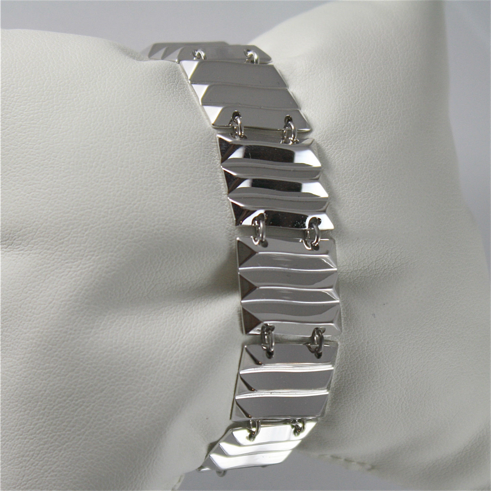 WHITE GOLD PLATED WAVE BRONZE REBECCA BRACELET SAHARA BSABBB11 MADE IN ITALY