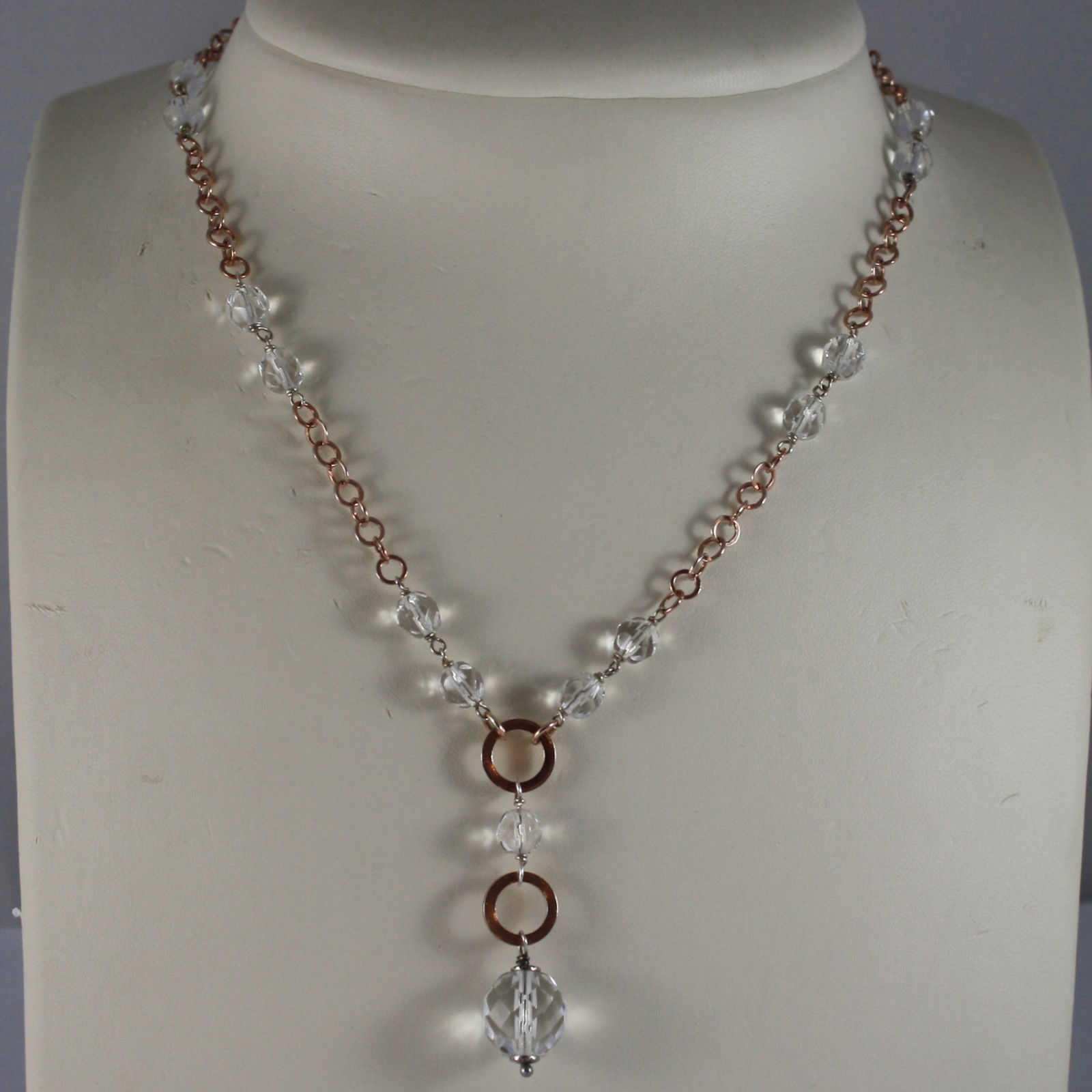 .925 RHODIUM SILVER ROSE GOLD PLATED NECKLACE WITH TRANSPARENT CRYSTALS