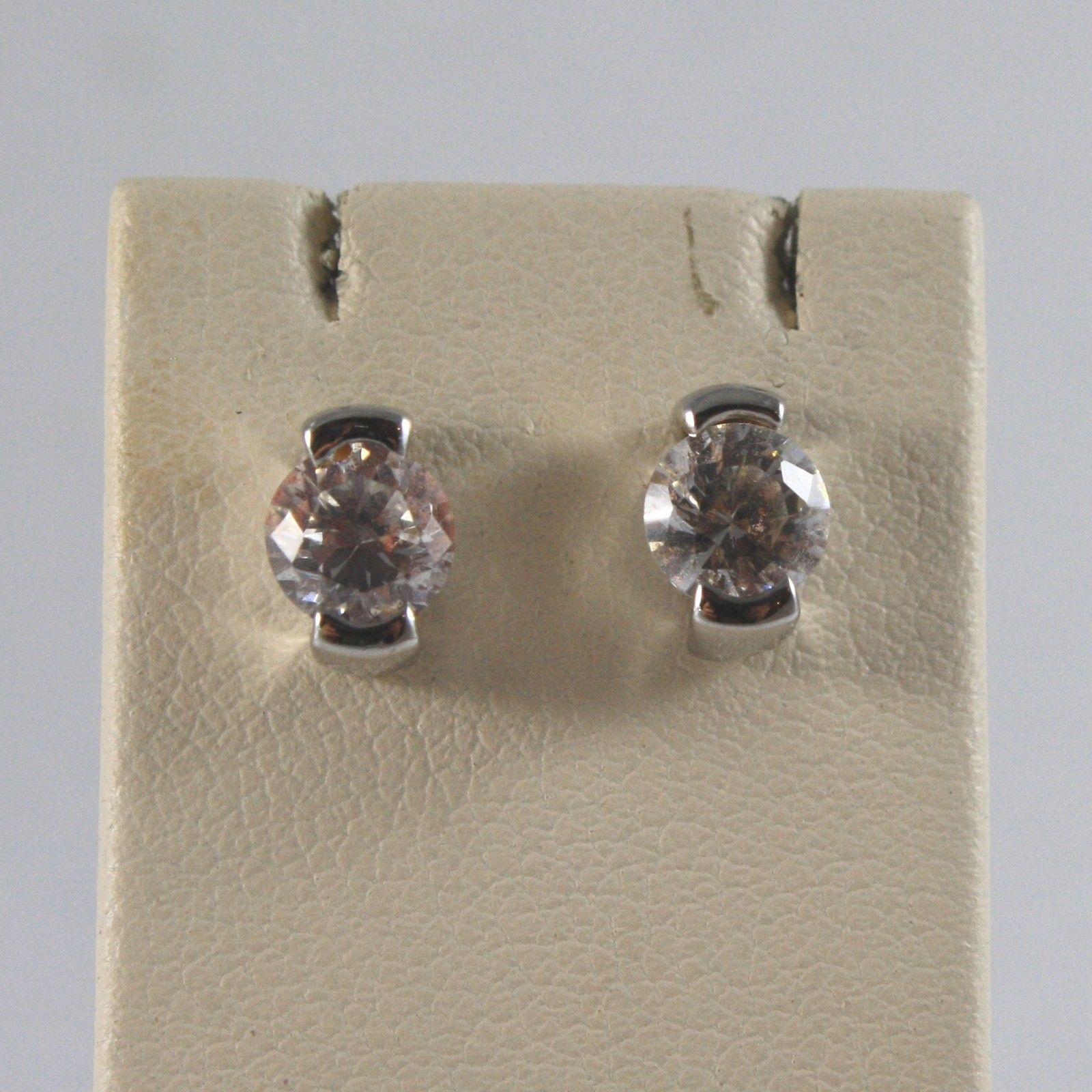 18K SOLID WHITE GOLD EARRINGS WITH CUBIC ZIRCONIA MADE IN ITALY 18K