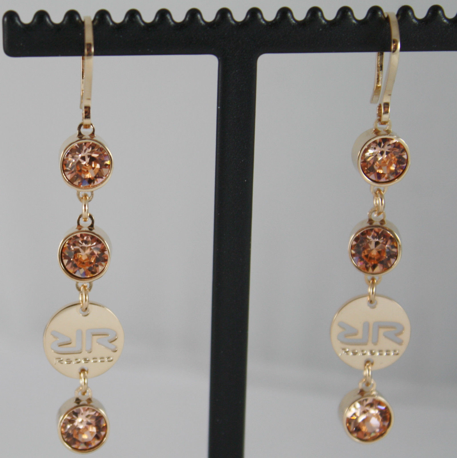 YELLOW BRONZE REBECCA PENDANT EARRINGS WITH ORANGE CRYSTAL CT 6.00 MADE IN ITALY