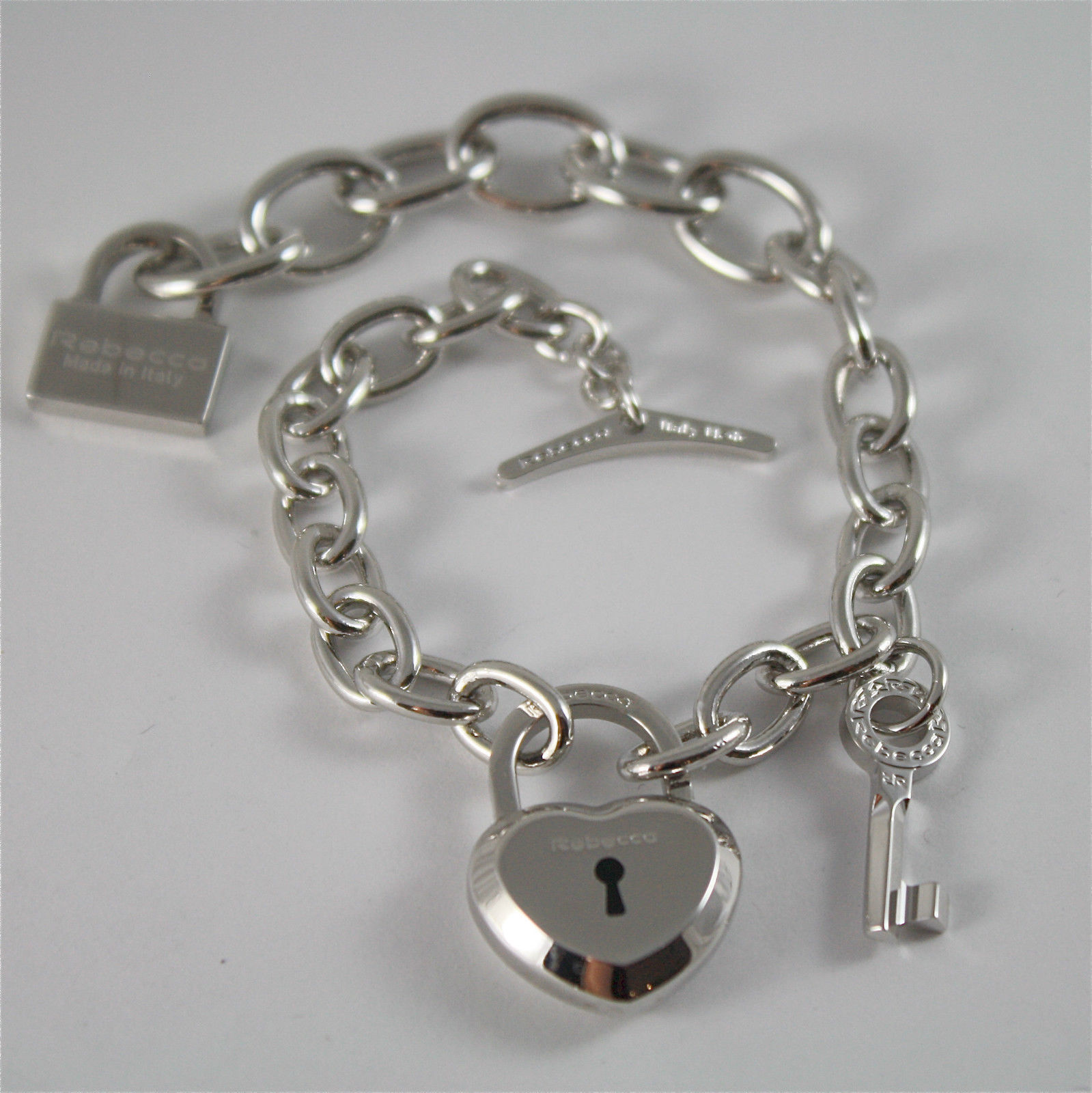 WHITE GOLD PLATED BRONZE REBECCA BRACELET LOVE LOCK BLLBBB04 MADE IN ITALY 7.87
