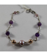 .925 RHODIUM SILVER BRACELET WITH PURPLE CRISTAL AND ROSE FRESHWATER PEARL - $32.30