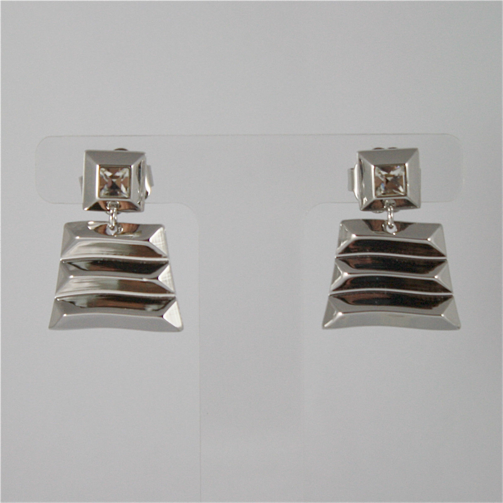 WHITE GOLD PLATED BRONZE REBECCA EARRINGS SAHARA BSAOBB06 MADE IN ITALY CRYSTAL