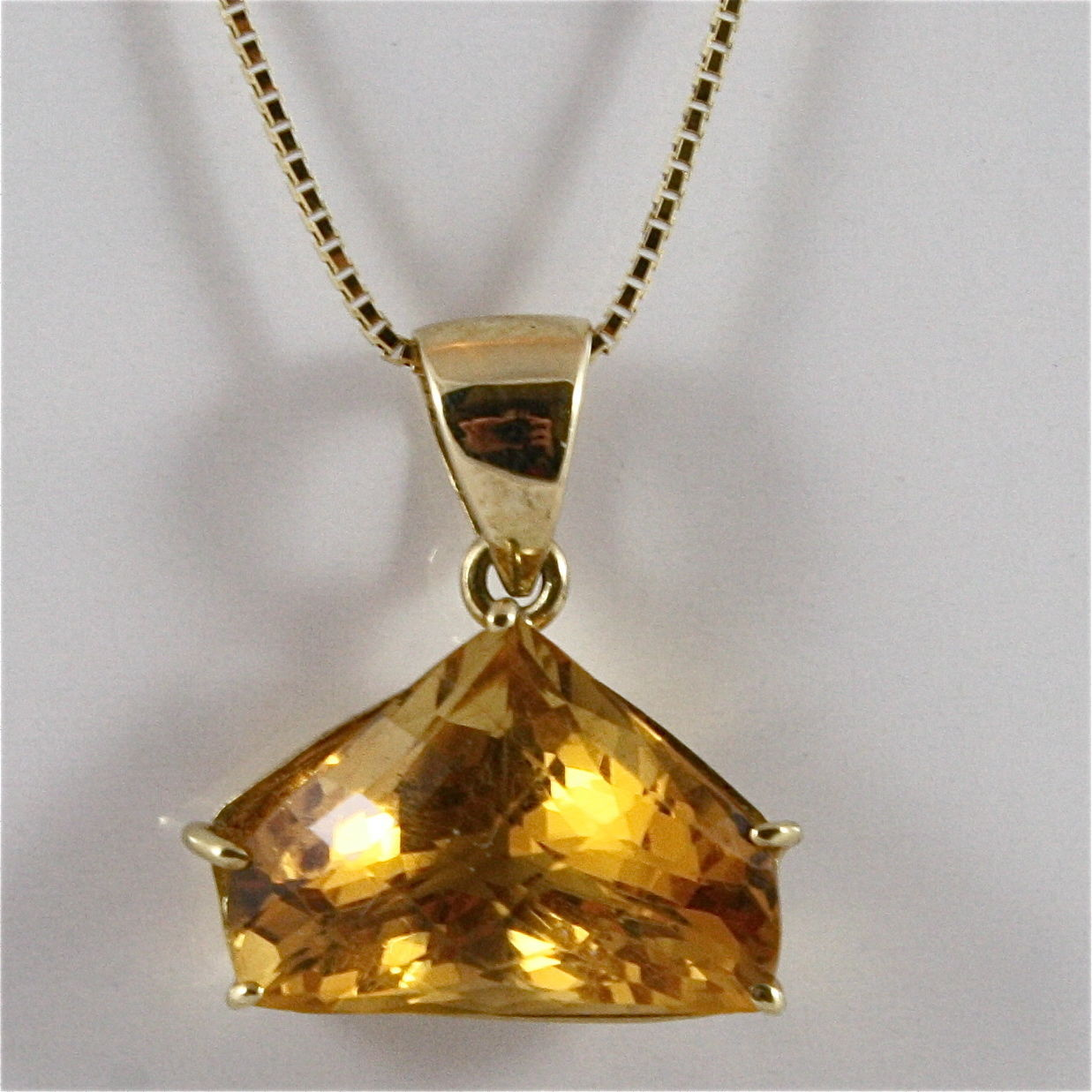18K 750 YELLOW GOLD PENDANT WITH CITRINE, NECKLACE, MADE IN ITALY