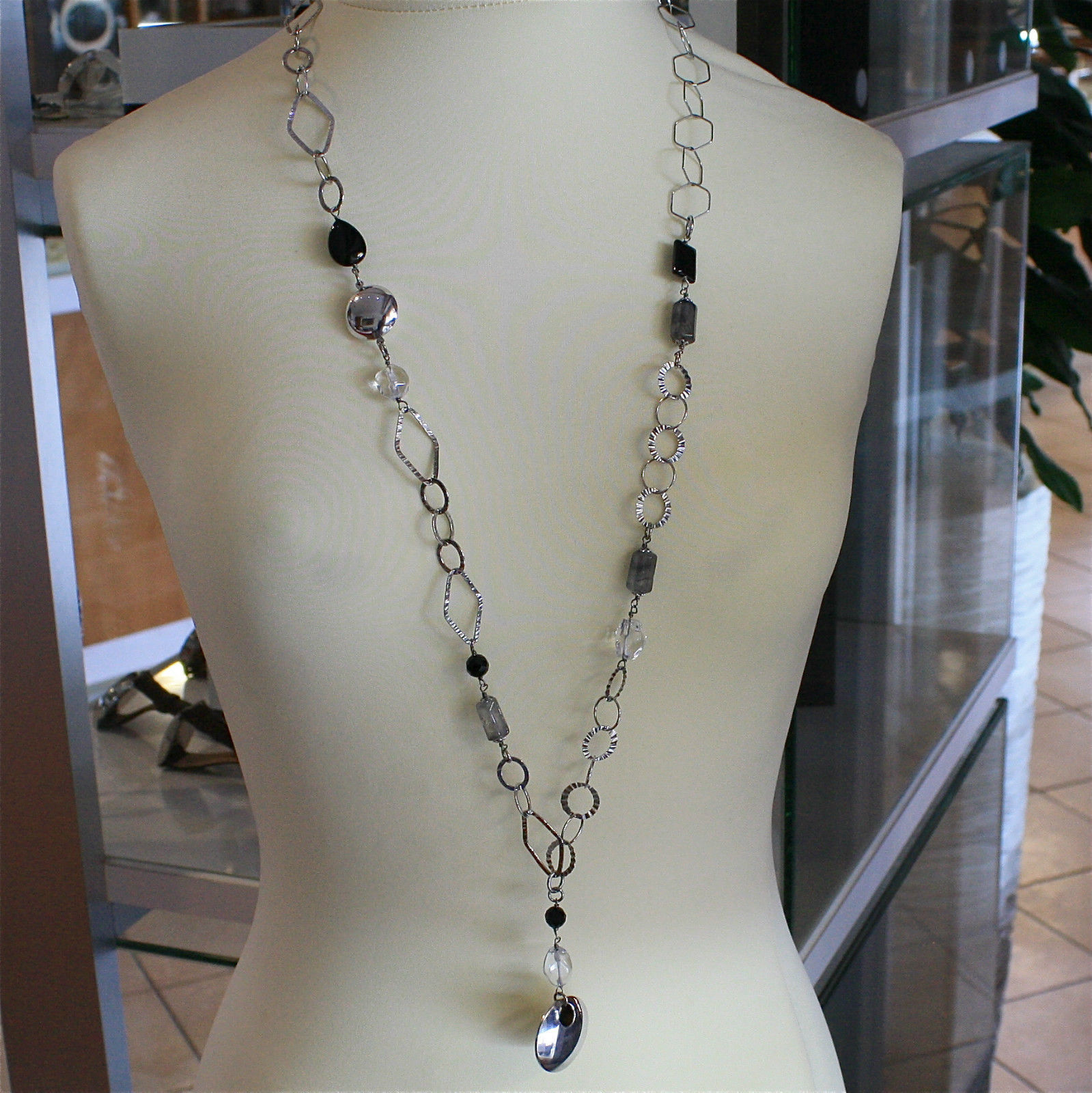 .925 RHODIUM SILVER NECKLACE, SCARF, BLACK ONYX, GREY QUARTZ, RAW CRYSTALS.