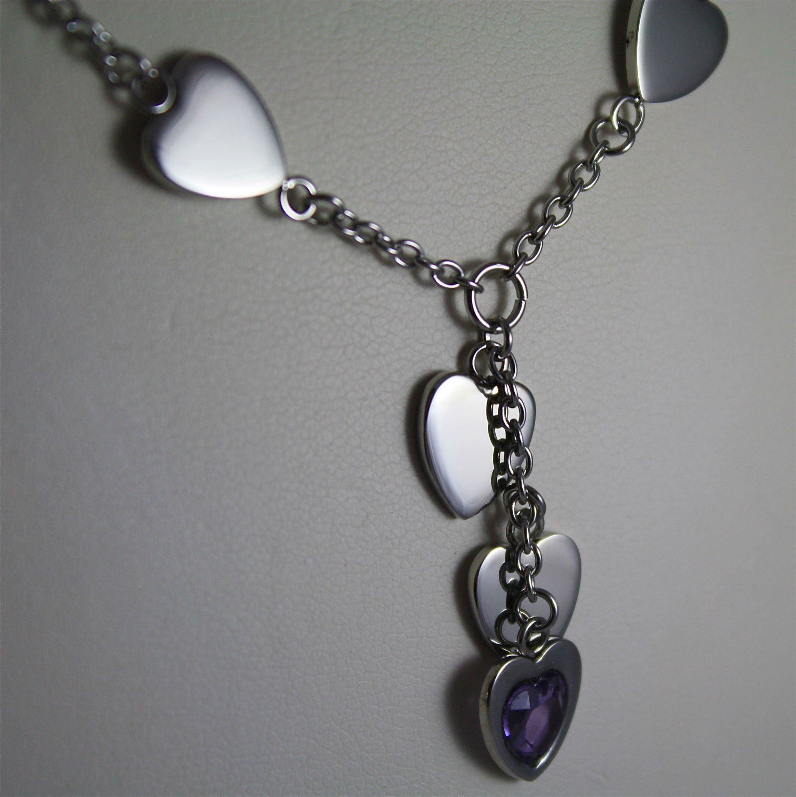S'AGAPO' NECKLACE, 316L STEEL, CENTRAL HEARTS, SCARF, FACETED PURPLE CRYSTALS.
