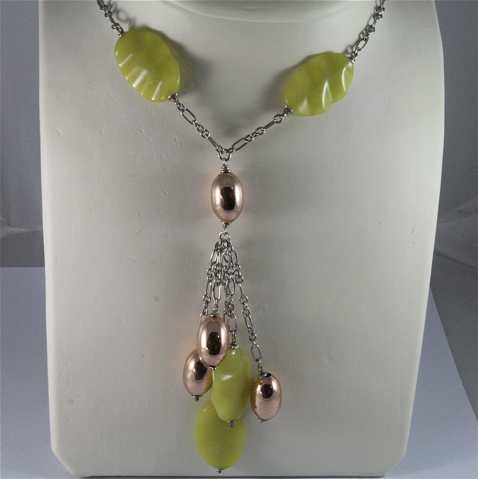 .925 SILVER RHODIUM NECKLACE 16,54 In, ROSE PLATED DROPS, GREEN JASPER PETALS.