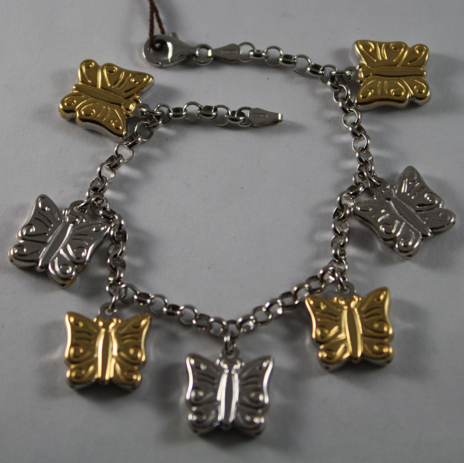 .925 RHODIUM SILVER YELLOW GOLD PLATED BRACELET WITH BUTTERFLIES