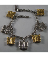 .925 RHODIUM SILVER YELLOW GOLD PLATED BRACELET WITH BUTTERFLIES - $115.83