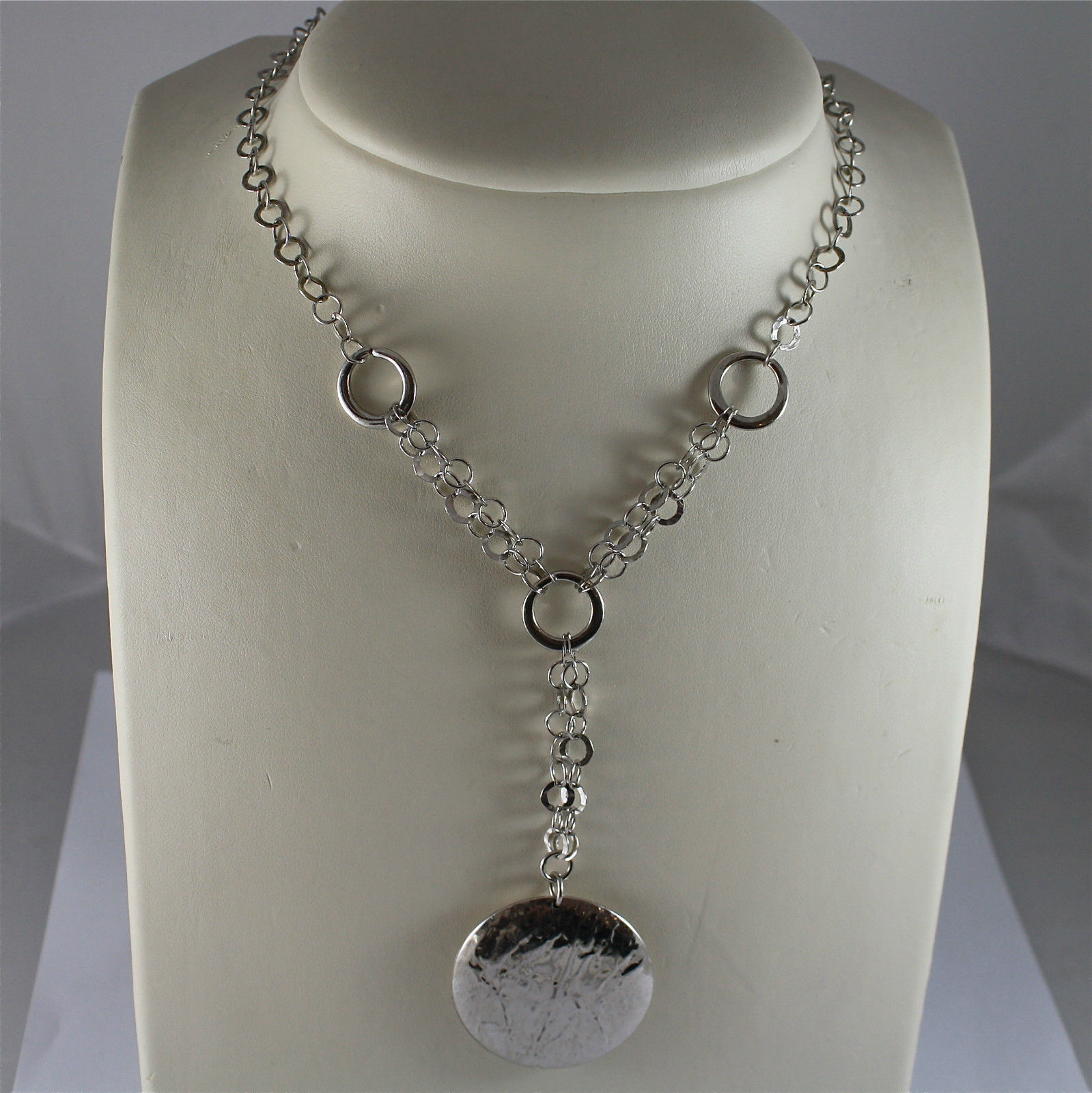 .925 RHODIUM SILVER NECKLACE, SCARF, RAW ROUND MESH,  HAMMERED WORKED DISC.