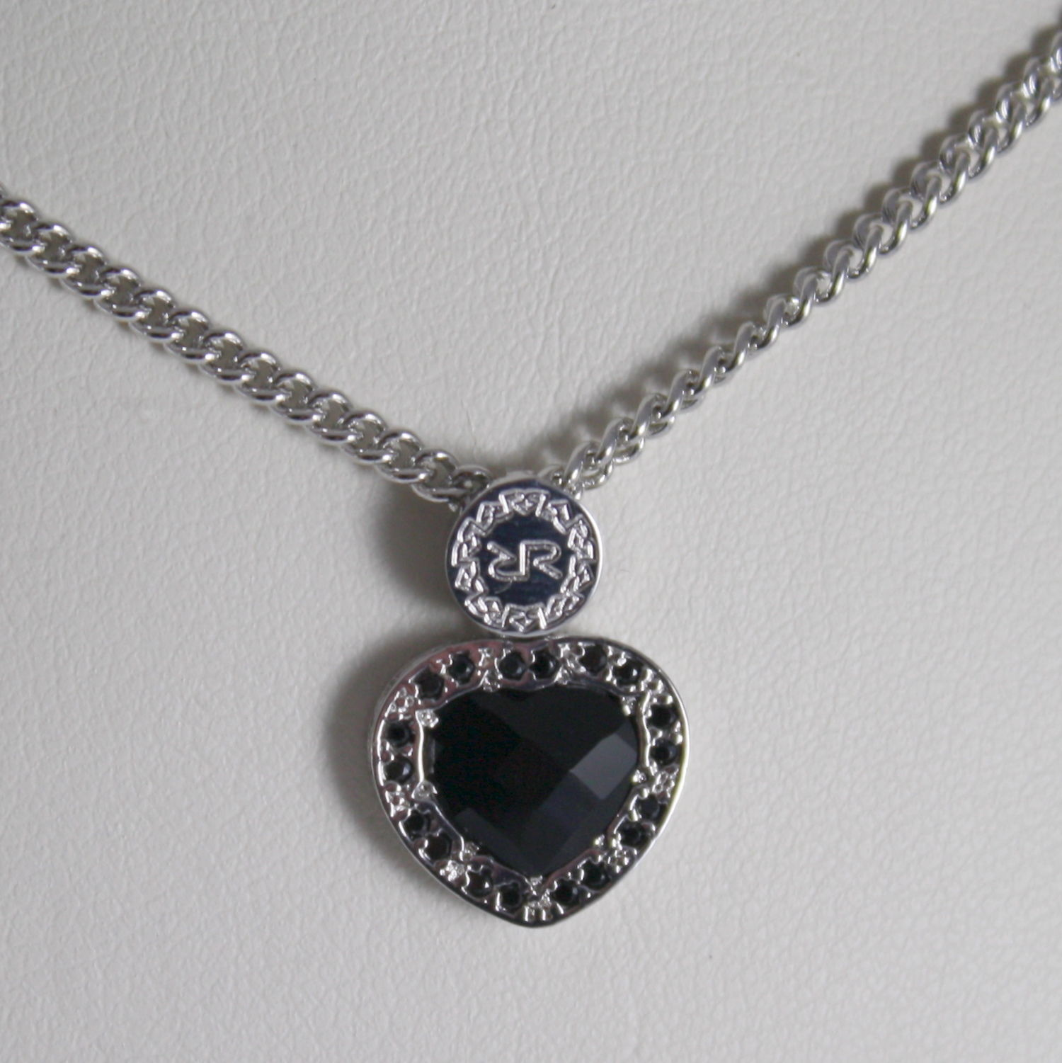 RHODIUM BRONZE NECKLACE WITH HEART B14KBN24 BLACK ZIRCONIA REBECCA MADE IN ITAL
