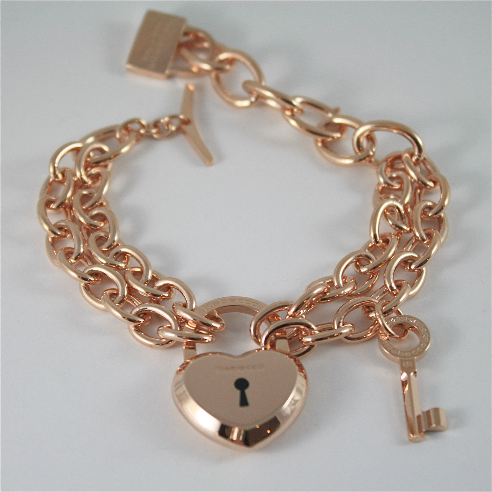 ROSE GOLD PLATED BRONZE REBECCA BRACELET LOVE LOCK BLLBRB24 MADE IN ITALY 7.87