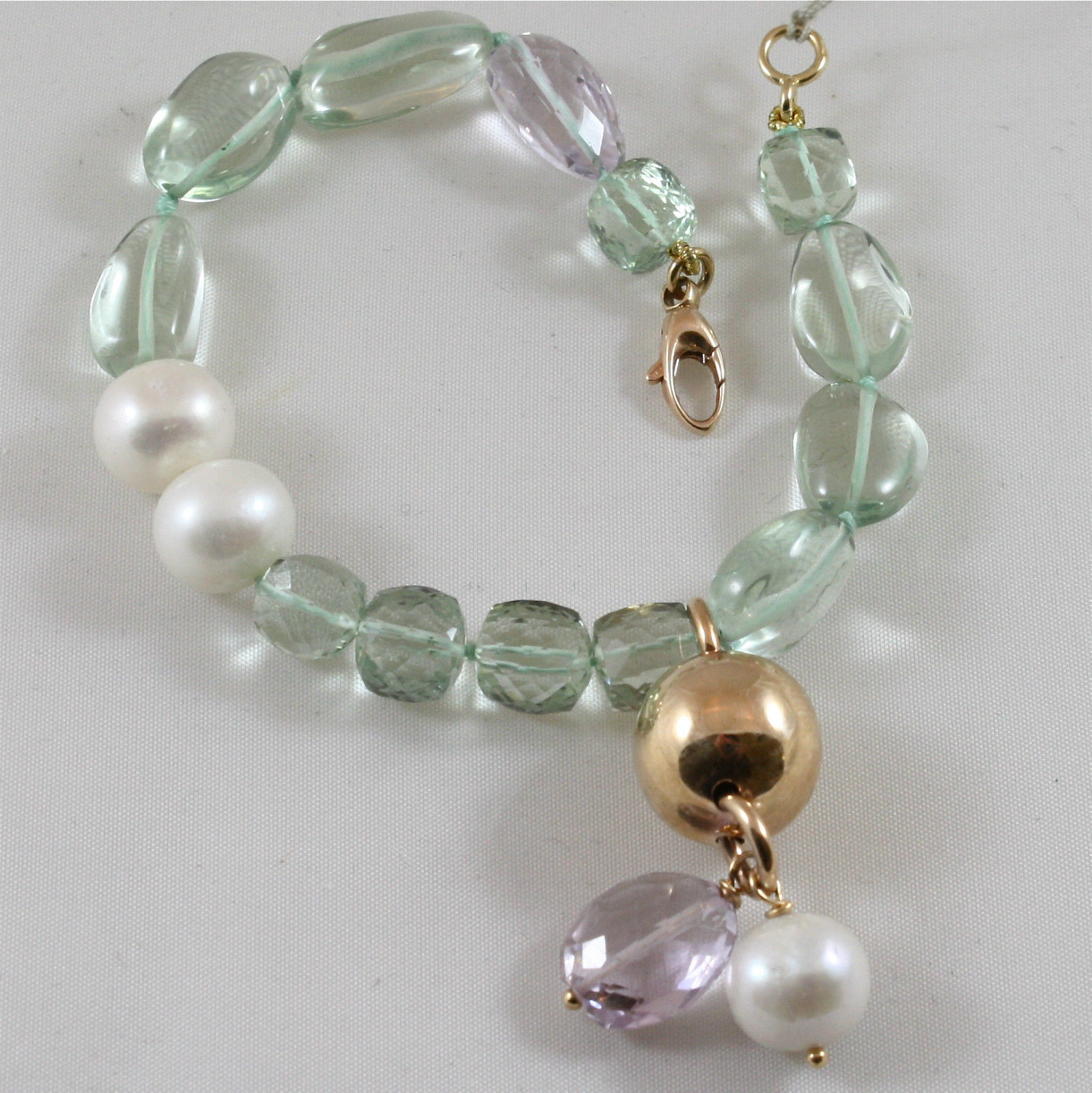 18K 750 ROSE GOLD BRACELET WITH PERIDOT, AMETHYST, PEARL, MADE IN ITALY