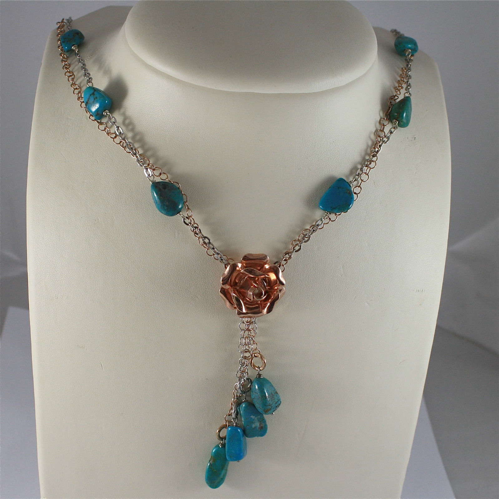 .925 RHODIUM SILVER NECKLACE, SCARF, CENTRAL ROSE, 4 PENDANT, NATURAL TURQUOISE.