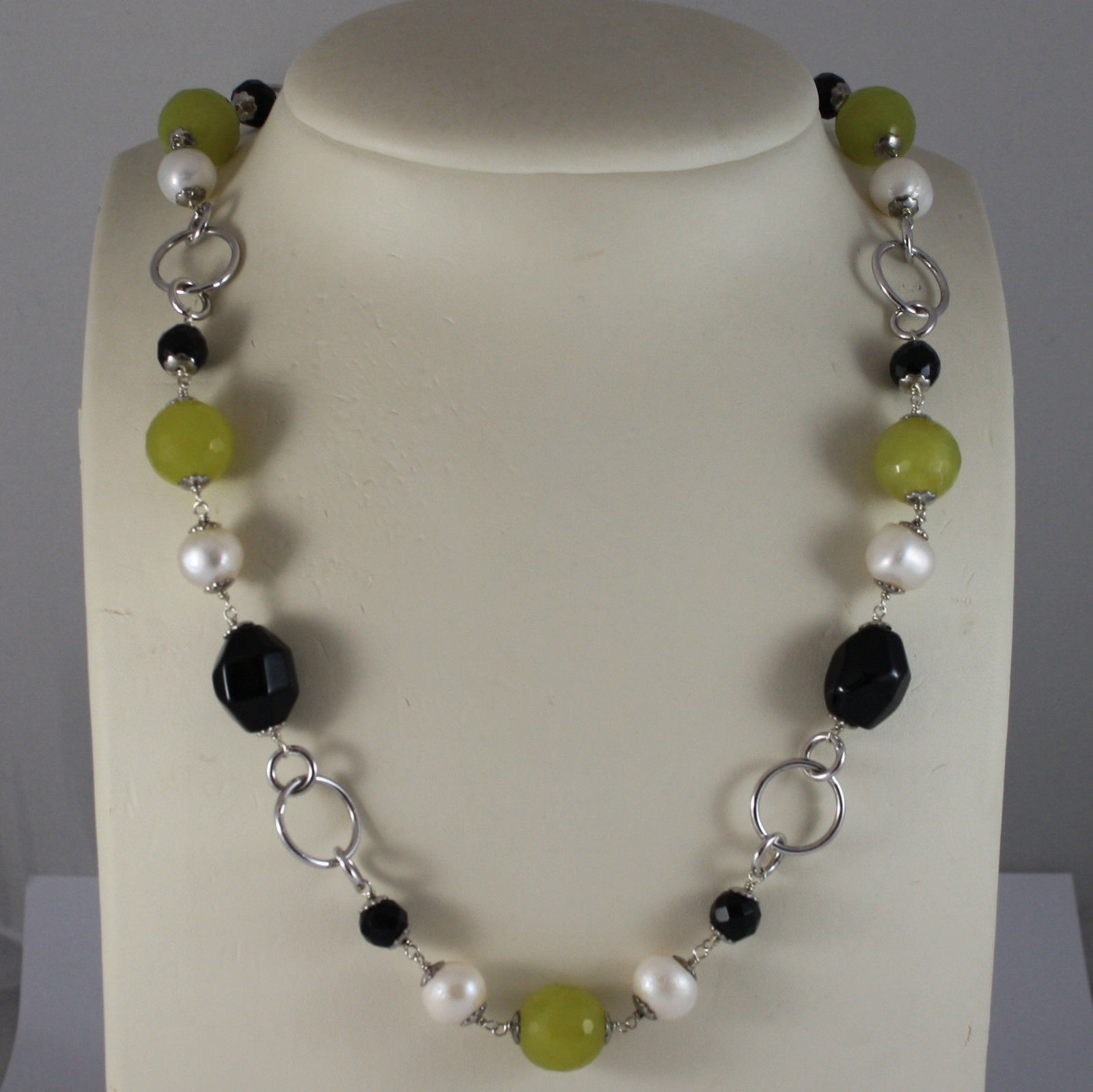 .925 SILVER RHODIUM NECKLACE WITH BLACK ONYX, WHITE PEARLS AND GREEN JASPER