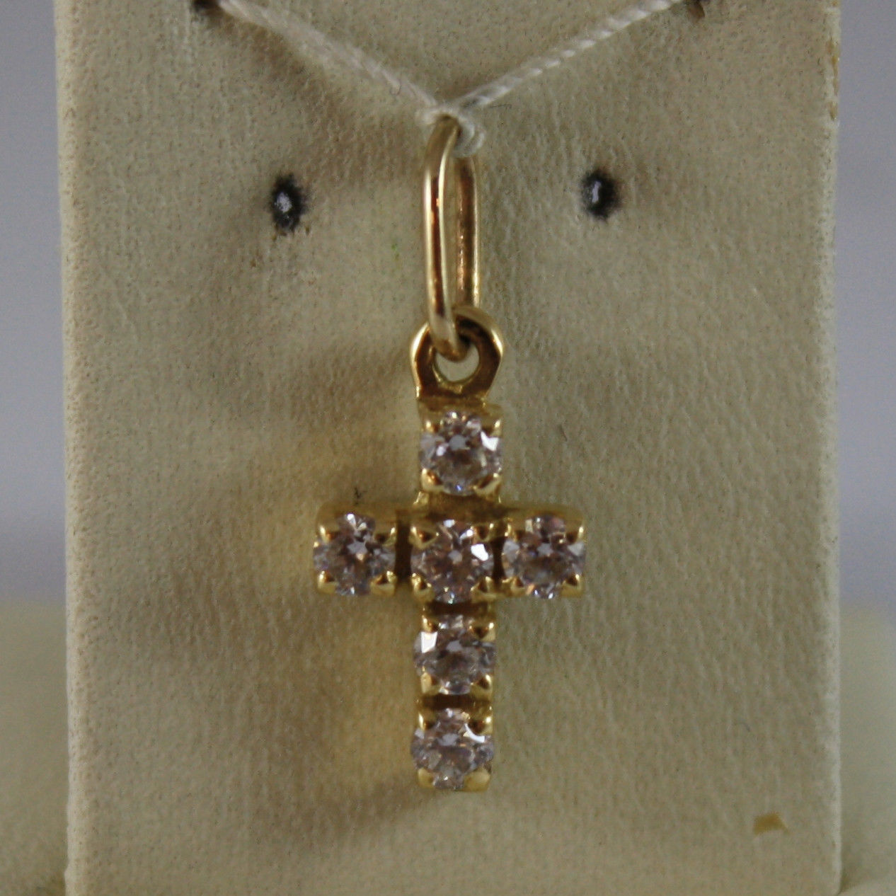 SOLID 18K YELLOW GOLD CROSS PENDANT WITH ZIRCONIA LENGTH 0,79 IN MADE IN ITALY